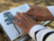 Primo piano di mani che leggono un pannello tattile