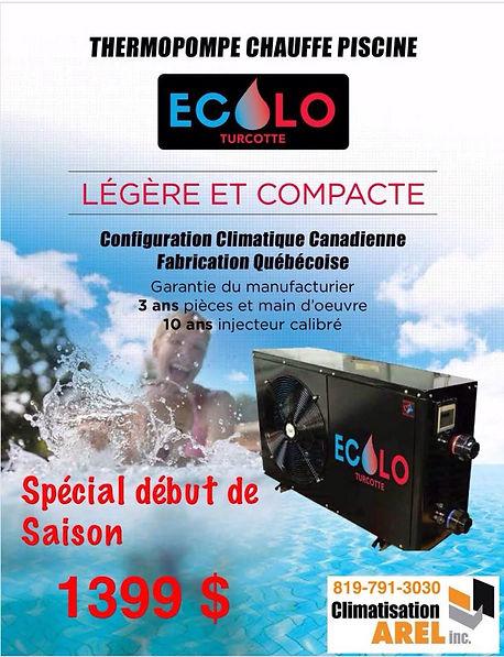 Pub thermopompe chauffe piscine Ecolo Climatisation Arel