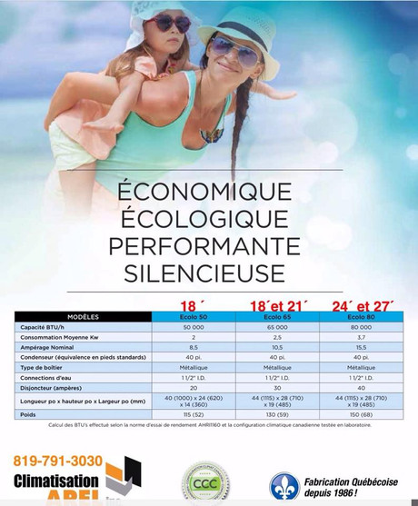 Tableau Thermopompe chauffe piscine Climatisation Arel