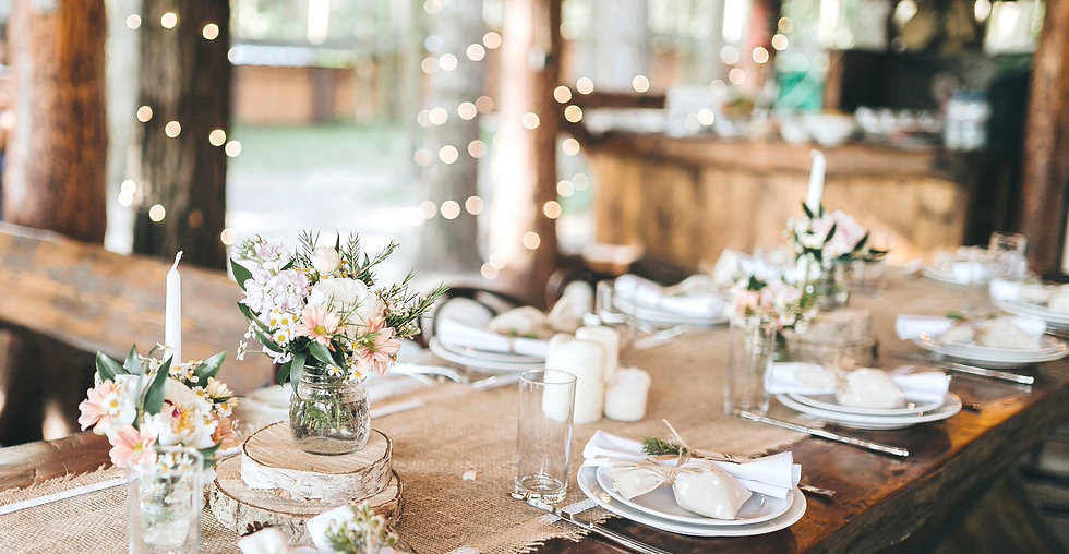Table setting with candles and twinkling lights