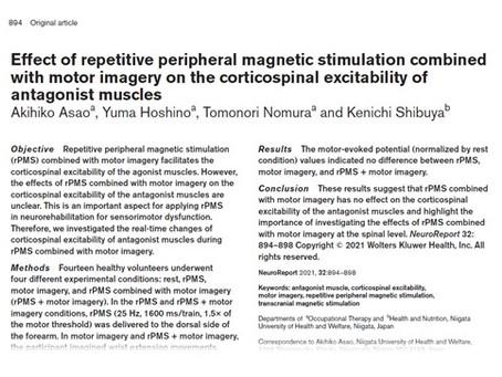 浅尾章彦講師らの研究論文が国際誌「NeuroReport」に掲載されました