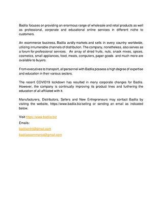 PRESS RELEASE Badila 5 October 2020 Fina