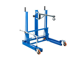 Hydraulic wheel trolley for removal of wheels and brake drums on aircraft