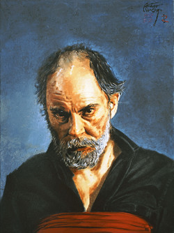 Self-portrait with red cloth