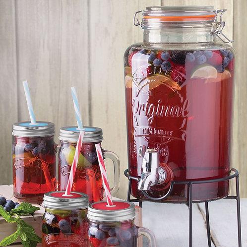 Cadeauset drankendispenser + 4 glazen bekers