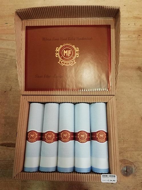 Sigarendoos zakdoeken ruitjes blauw