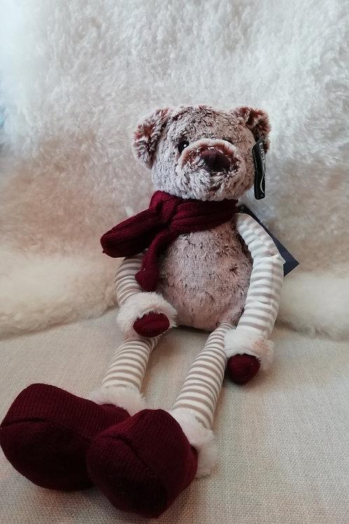 Plush beer met lange benen rood