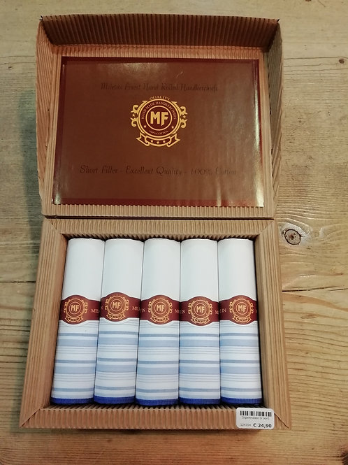 Sigarendoos zakdoeken blauwe boord