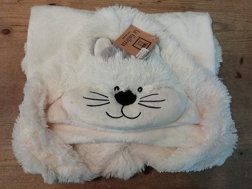 Baby deken met kap kat