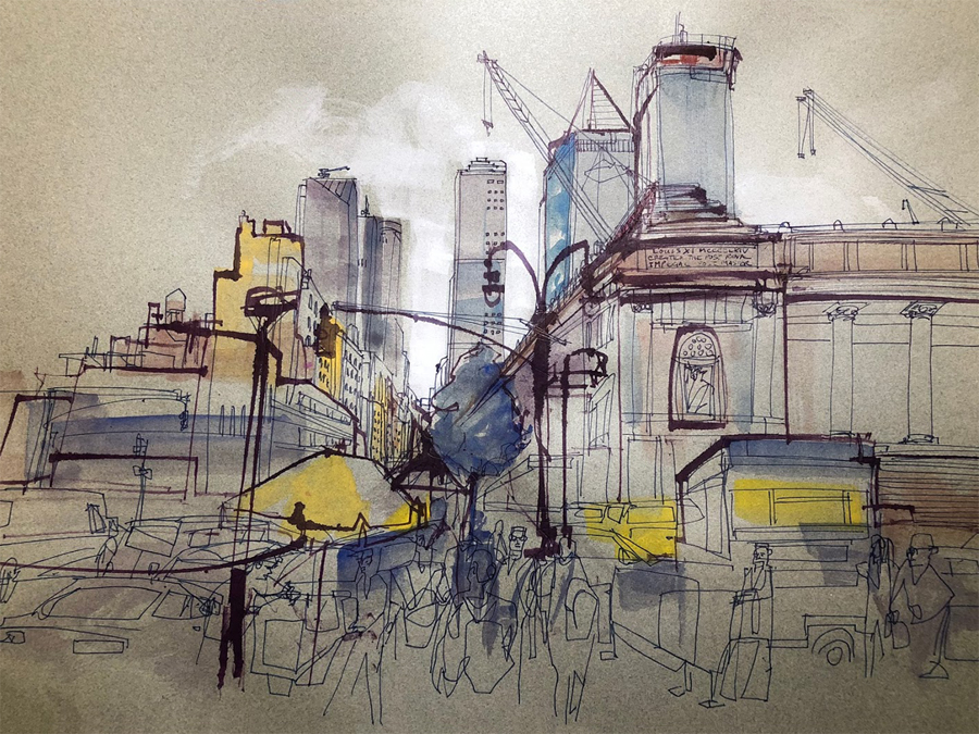 Joe Louis Plaza drawing.