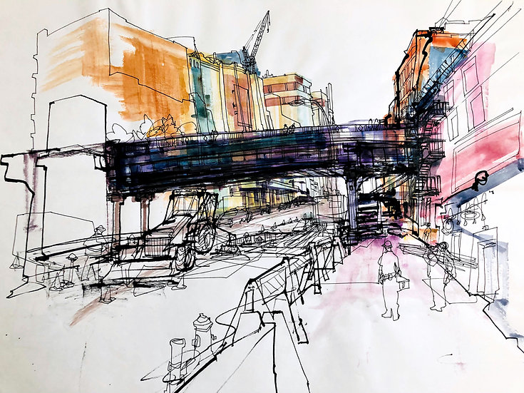 High Line NYC  Reportage Drawing
