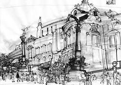 Paris reportage drawing.