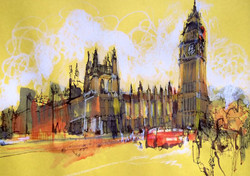 London reportage drawing.