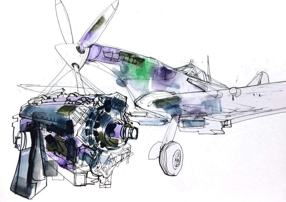 RAF - Spitfire drawing.