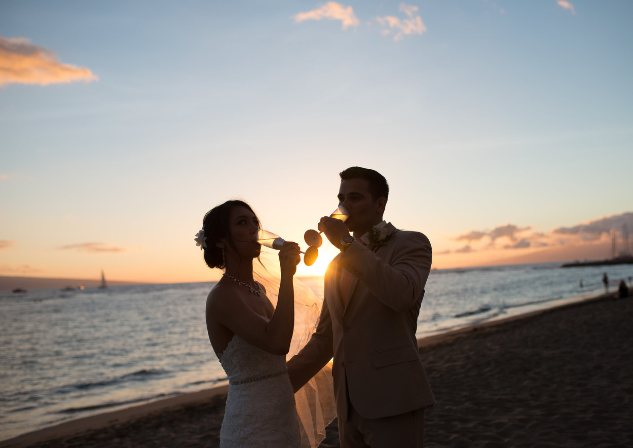sunset newlyweds
