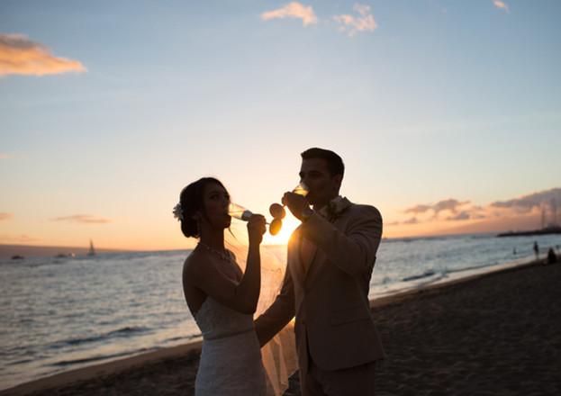 sunset newlyweds