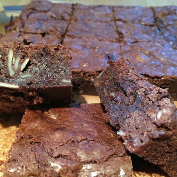 Oh these_ Just some homemade salted caramel almond Den Bake Shop brownies.