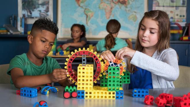 Children Working with ROK Blocks