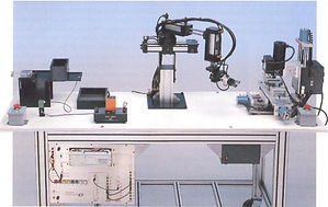 TII's AMS-107 - Tabletop CIM System integrated manufacturing automation plc robot pneumatic cnc