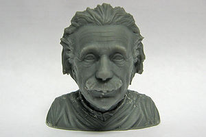 A 3D printer was used to create this Einstein model.