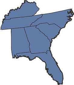 map southeast us kentucky tennessee south north carolina georgia alabama florida