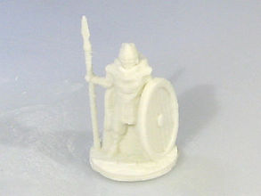 A 3D printer was used to build this miniature warrior.