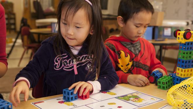 Child Working with ROK Blocks