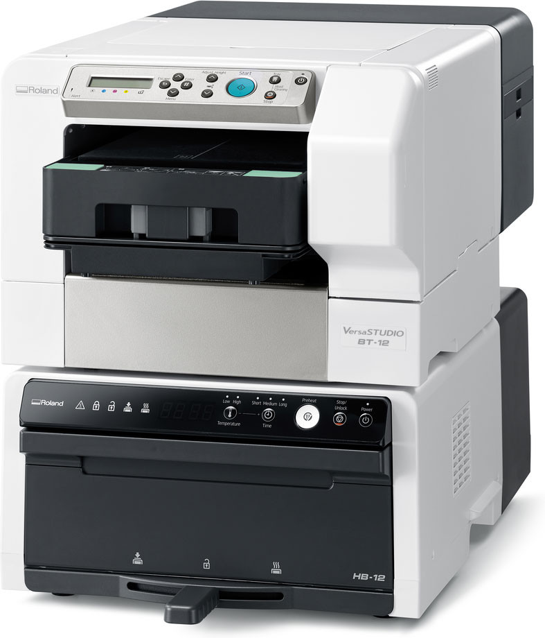 Roland VersaSTUDIO BT-12 Direct-to-Garment printer and HB-12 Desktop DTG Finisher
