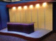 television tv studio production anchor broadcast desk furniture