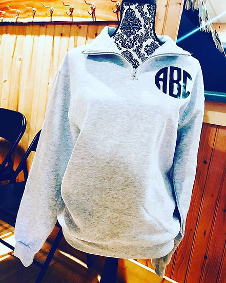 Monogrammed Fleece Quarter Zip Pullover