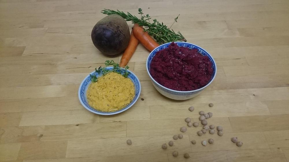 Hummus aus Kichererbsen mit Randen und Rüebli aus regionalen Zutaten