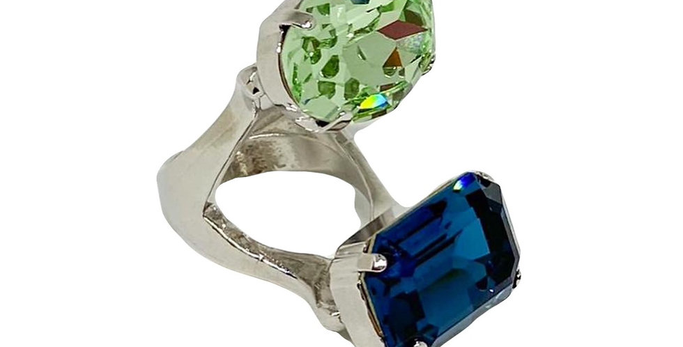 Two Colored Babe Ring - Swarovski Crystals