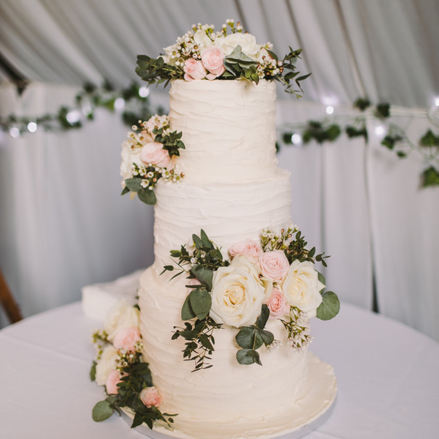 Ruffled Buttercream Wedding Cake