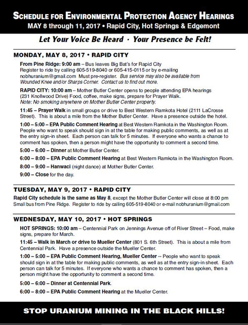 Schedule of Events - Uranium Mining EPA Hearings