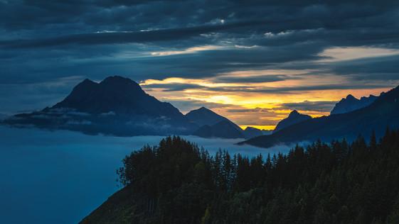 Sunrise above Gesäuse National Park