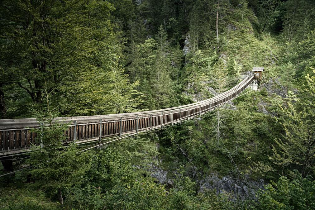 Suspensions Bridge over River Salza