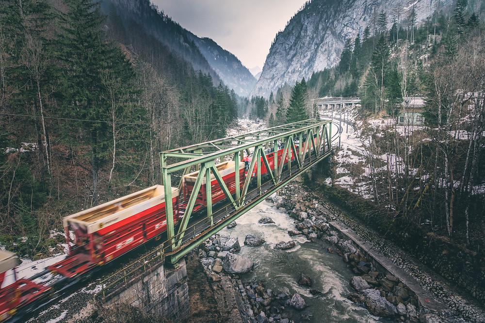 Railway bridge with train | Gesäuse