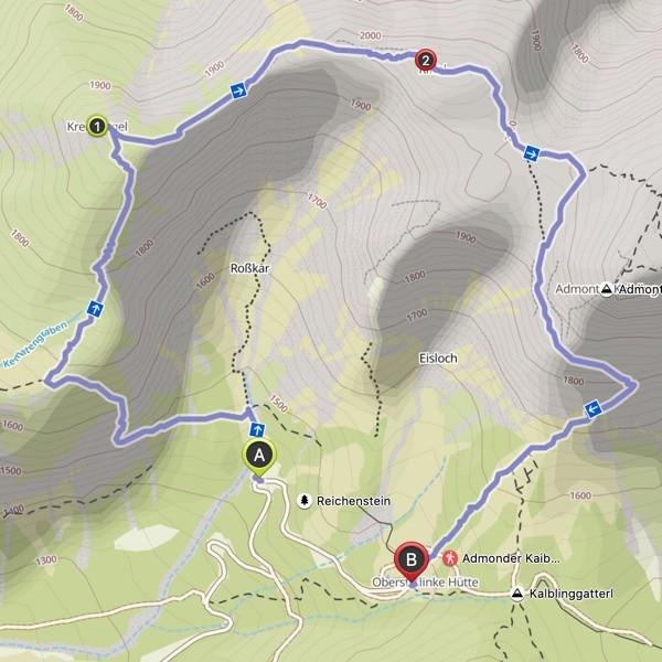 Hike via Jagersteig to Mount Kreuzkogel and Mount Riffelspitz