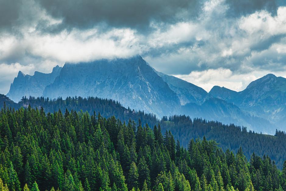 Gesäuse Mountains in Clouds