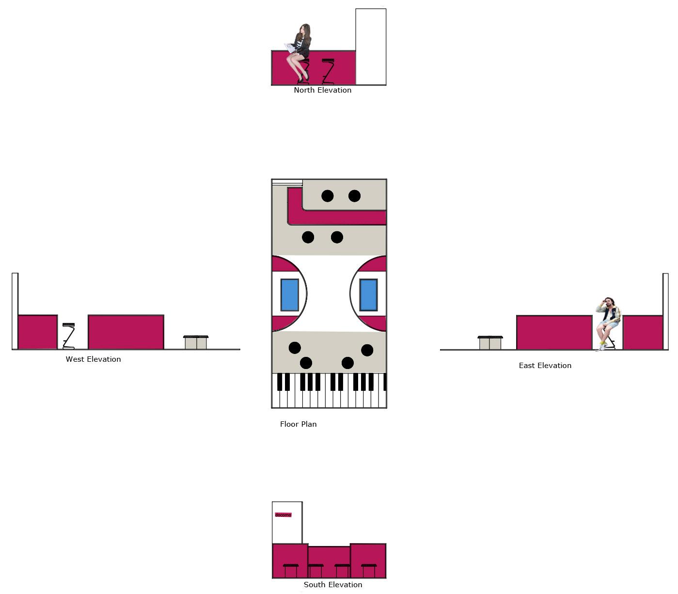 Kiosk coloured Floor-plan