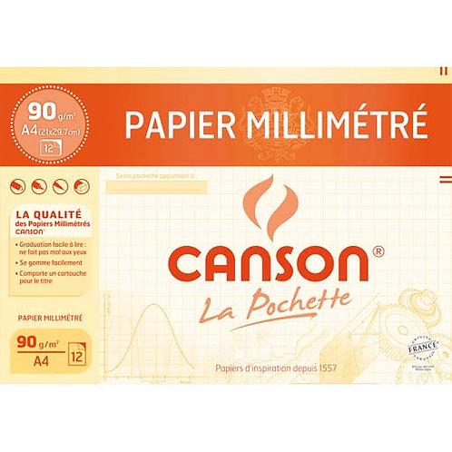 CANSON Pochette de 12 feuilles dessin millimétré 90g A4