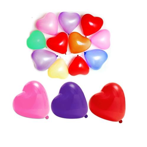10 Ballons en forme de cœur - couleur variée