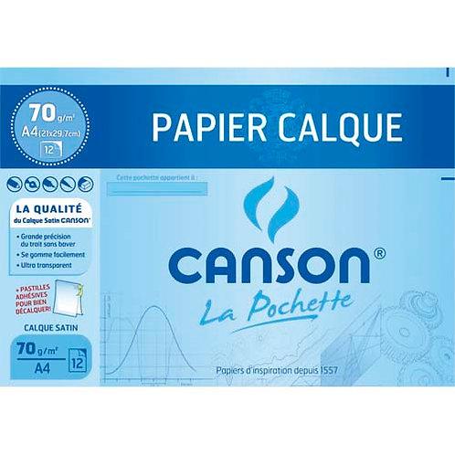 CANSON Pochette de 12 feuilles papier calque satin 70g format A4