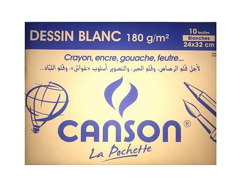CANSON Pochette de 10 feuilles de dessin blanc 180g