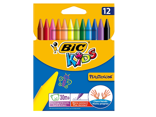 12 Craies de coloriage Bic Kids - Plastidecor