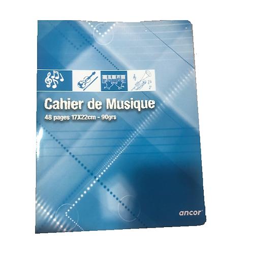 Cahier de musique  90gr 48pages 17*22cm seyes ANCOR