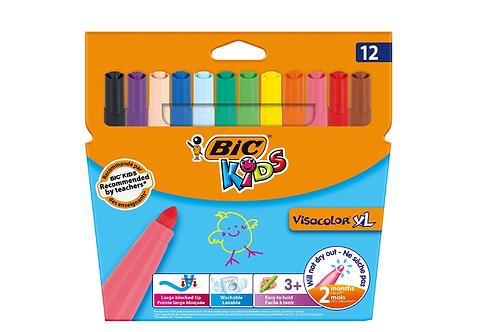 12 Feutres de Coloriage à Pointe Large - BIC KIDS - VISACOLOR XL