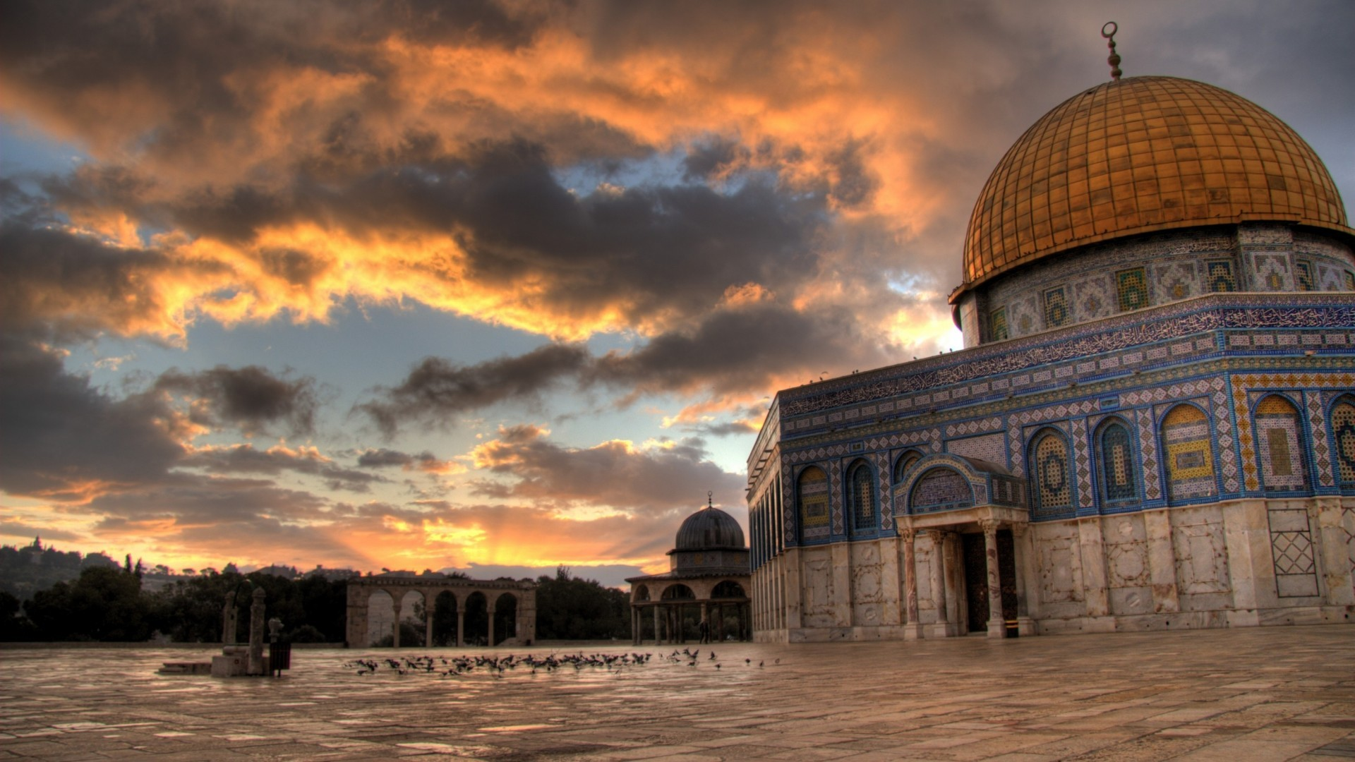 Religious-dome-rock-jerusalem-photography-mosque-islamic-mosques-al-aqsa-clouds-tard-pegions-dual-mo