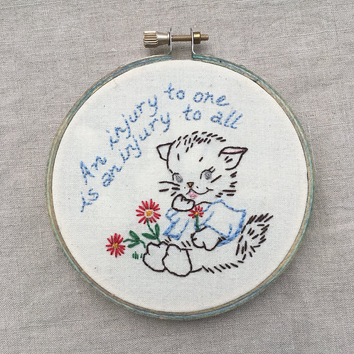 "IWW slogan with vintage kitty 4"" light blue wooden hoop"