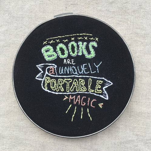 Books are a uniquely portable magic hand embroidery